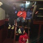 Cousins tour the inside of the snowplow crew quarters