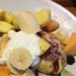 Blintz hidden under mound of fruit