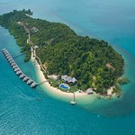 Birds eye view of Telunas Private Island. Exclusive overwater villas 50 km south of Singapore.