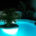 Our private pool, lit up in the evening!