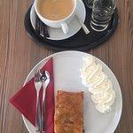 Apfelstrudel and coffee. Delicious. It lasted about 2 minutes.