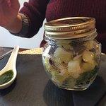 """Trattoria """"Le due comari"""" (Ferrara)Vapore di seppie e patate con olive taggiasche e olio al basi"""