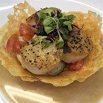 Scallop Saute: Housemade Gnocchi,  Thai eggplant ,tomato,chili lime butter sauce, parmesan shell