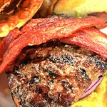 Triple Beefsteak Burger with Bacon and house made chips@