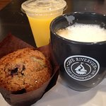 Fresh squeezed OJ, authentic cappucino and fresh blueberry muffin.