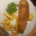 Line Caught Cod and Chips. Tiny portions of peas and chips. Fish looked ok until....