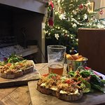 A light lunch by the fireside - fresh crab on toasted sourdough washed down with local ale