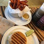 Miami burger w/sweet potato fries