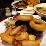 Ribeye Steak, chunky chips, salad and huge onion rings, gorgeous