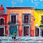 New painting of San Miguel street by Mercado Ramirez original painting by Cristi Fer