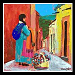San Miguel Street Vendor original painting by Cristi Fer