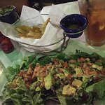 Plantain Chips, appetizer and Avocado Salad