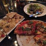 Shrimp Pasta Dish and Neopolitan Pizza