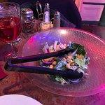 My salad and wine