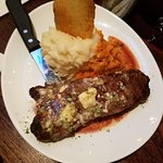 New York strip was tasty but overcooked