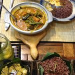 Fish amok and vegetable curry with brown rice