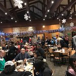 Eating before polar express train ride.
