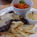 My Lunch T Bone steak & 4 very small blink & miss them Prawns