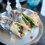 Steak taco, chicken taco and Thai shrimp taco