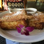 Tropical French Toast made with Hawaiin bread w/coconut syrup