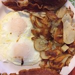 cottage fry, bacon & eggs