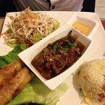 canard laqué, riz cantonais ,nems