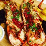 Grilled Lobster, Garlic Butter & Fat Chips