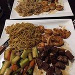 Hibachi steak and shrimp with noodles
