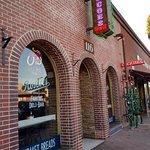 Streetside entrance to Roscoe's Famous Deli in Fullerton, CA