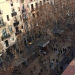 View of Las Ramblas from roof terrace