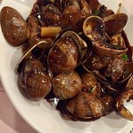 Steamed shrimp, clams black bean sauce, rock crab, pea shoots, oysters, pork chops in sweet tang