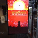 Advertising board for 'The Emperor & the Nightingale' at the entrance to the theatre.