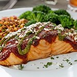 """Chili's """"Ancho Salmon"""" with rice and steamed broccoli"""