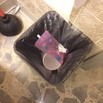 Bathroom trash can upon arrival. You probably know what was in that pink wrapper.
