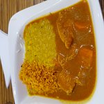 Chicken curry with dhal, toasted coconut and basmati rice