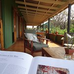 Relaxing with a good book about the native people on the waranda...