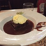 Chocolate brownie with clotted cream
