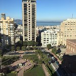 View from room 1201: Nob Hill, The fairmont, Grace Cathedral, Alcatraz and the Pacific Ocean