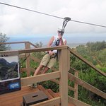 """Falling"" into the zipline."