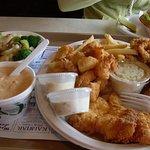 lobster bisque, fried seafood platter, steamed veggies (lobster roll in background)