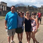 Our guide took this great picture in the forum of Pompeii. Vesuvius is in the background!