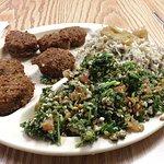 Genie's Plate = Falafel, Medhadrah, Tabouleh