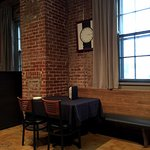 Typical table setting inside Scratch Kitchen.