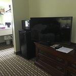Télé récente, frigidaire et microonde.