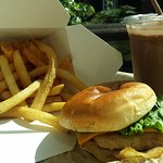 Chicken burger, fries and a shake