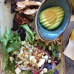 The Waterfront Salad - ordered without tomatoes. Also ordered a side of avocado and grilled chic