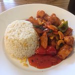 Kung Po chicken with egg fried rice, fresh, hot and delicious!!