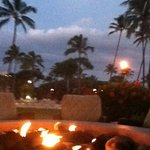 Fire pit bar at full moon.