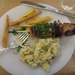 Lamb kebob with home made french fries