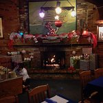 Cozy fire, beautiful decorations, great food